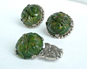 Carved Green Bakelite Set Brooch Earrings Silver Spinach Swirl Tested Vintage 1930's