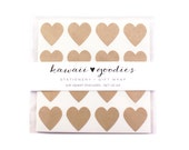 64 Kraft Brown heart stickers  - 3/4 inch kraft brown mini hearts - FREE SHIPPING