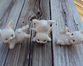 3 Ceramic Porcelain Bunny Rabbits Holiday Easter Figurines by Homco #1454