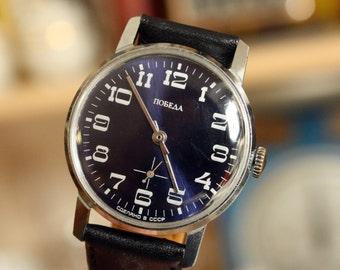 Wrist watch mens watch Pobeda blue watch men watch, men's mechanical watch,