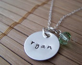 Hand Stamped Name Sterling Silver Necklace with a birthstone crystal or freshwater pearl