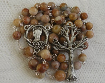 Five Decade Catholic Rosary - Morocco Agate with Pewter Dogwood Crucifix and Center
