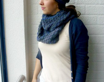 Infinity Scarf Beanie Set, Blue and Gray Cowl and Slouchy Beanie, Loop Scarf and Hat, Block Pattern Mens Beanie, Women's Winter Fashion