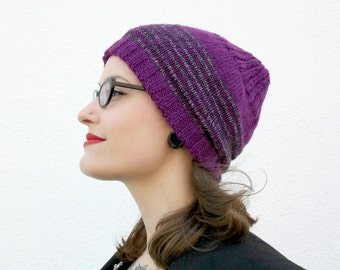Striped Slouchy Beanie, Purple Hand Knitted Womens Beanie Hat, Winter Accessory, Striped Hat, Fall Fashion - Purple, Metallic Silver Black