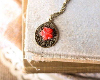 Filigree Drop Necklace, Red Flower, Morrocan Necklace, Shabby Chic Necklace, Long Necklace