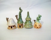 Fairy Houses - Set of 3 Plus a Tree - Handmade, Wheel Thrown - Ready to Ship