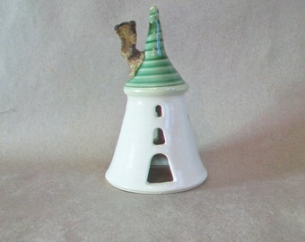 Small Size Fairytale Tower - Rapunzel - Night Light  - Plain White - Green Roof- Fairy House - Wheel Thrown - Ready to Ship
