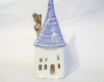 Fairy House -- Luminary, Candle Holder  - Purple Roof -- Handmade on Potters Wheel -- Ready to Ship
