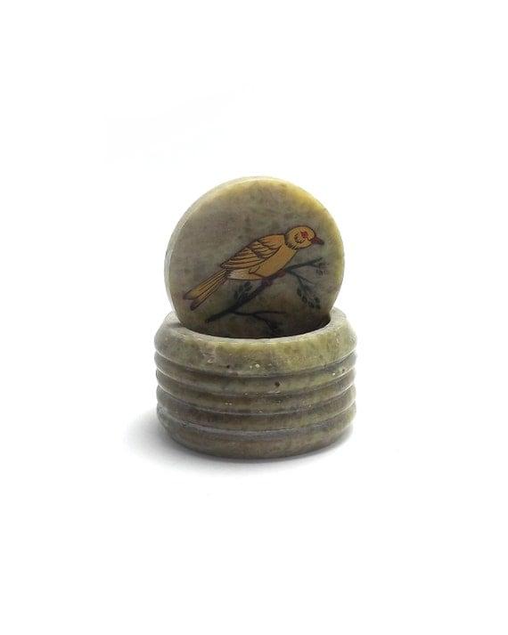 Lovely Vintage Trinket Box, Nature Inspired, Stone Jewelry Box, Onyx, Jasper, Green Marbled Circular Box, Bird on a Branch, Woodland Decor