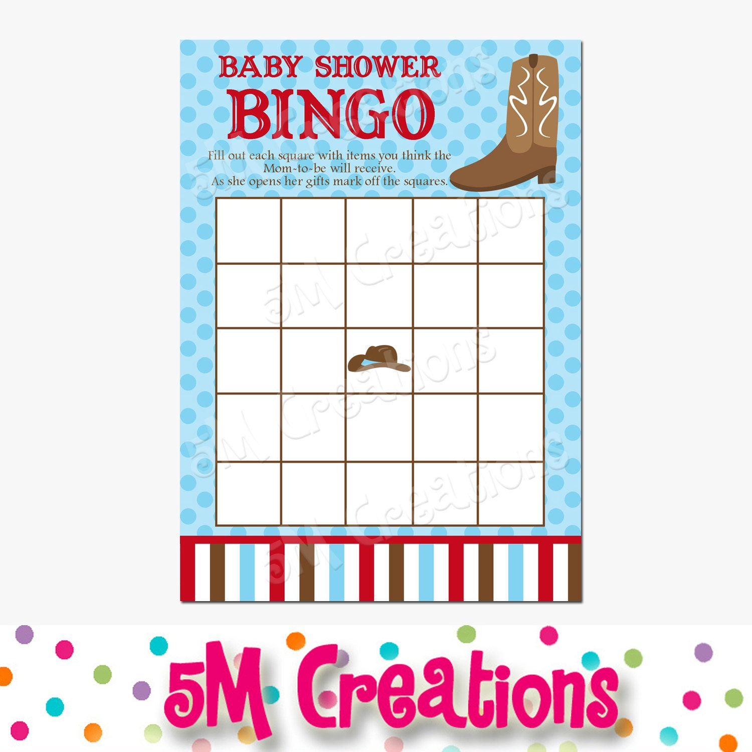 baby shower bingo card cowboy party cowboy baby shower