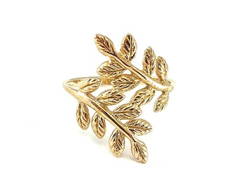 Leaf Ring Gold, Womens Rings, Unique Rings, Statement Rings, Minimalist Ring, Handmade Gifts, Unique Jewelry, Classic Jewelry, Jewelry Gift