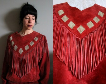Vintage - Cow Split - Tassel / Fringe Leather Sweater