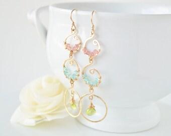 Peridot, Apatite & Pink Tourmaline Chandelier Earrings