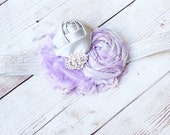 Silvia- lavender and grey silver satin and chiffon flower headband