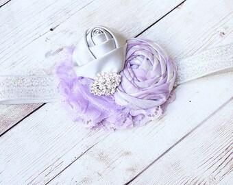 Silvia- lavender and grey silver satin and chiffon flower headband