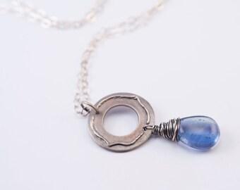 Fluorite Scroll Necklace (Blue Fluorite, Sterling Silver, Zircon)
