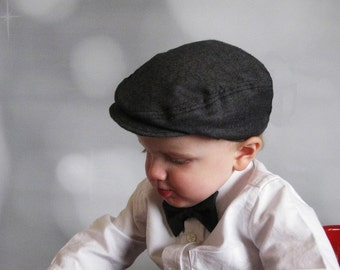 Toddler boy black hat  ring bearer hat boys cap baby boy black hat baby newsboy hat - Little Man