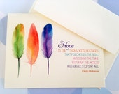 Hope Note Cards, Emily Dickinson, Stationery, Set of 6