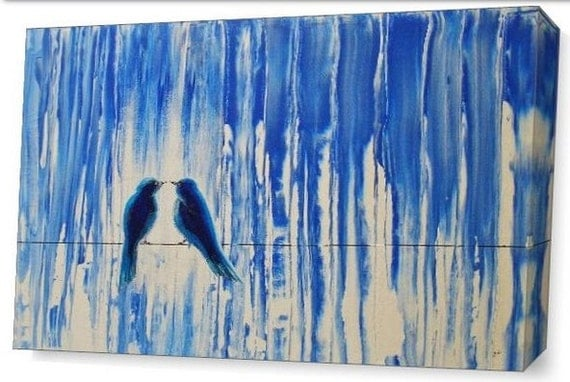 LE Deep Canvas Wrap Giclee Print of Original Painting In the Calm Rain Amber E. Lamoreaux Lovebirds Birds on a Wire Blue Rainy Romance