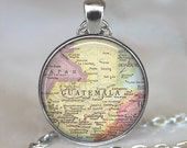 Guatemala map necklace, Guatemala map pendant, Guatemala map jewelry, Guatemala pendant travel map map jewellery keychain key chain