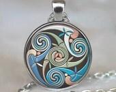 Swirling Celtic Triskelion pendant, Celtic necklace, Goddess jewelry, Goddess pendant, Goddess necklace Goddess keychain key chain