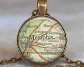 Memphis, Tennessee map pendant, Memphis map necklace map jewelry Memphis necklace Memphis pendant keychain