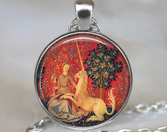 Lady and the Unicorn pendant, unicorn tapestry pendant, unicorn necklace, Renaissance jewelry, Renaissance Faire, keychain key chain
