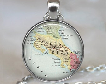 Costa Rica map necklace, Costa Rica map pendant, Costa Rica pendant, Costa Rica necklace map jewelry travel map key chain key fob