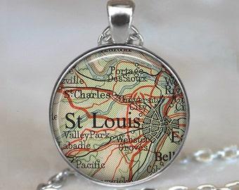 St. Louis, Missouri map pendant, St. Louis map pendant, St. Louis map jewelry resin pendant map jewellery map keychain key chain