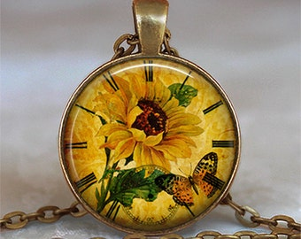Sunflower Clock pendant, sunflower pendant, sunflower jewelry, gardener's gift, Sunflower necklace keychain key chain