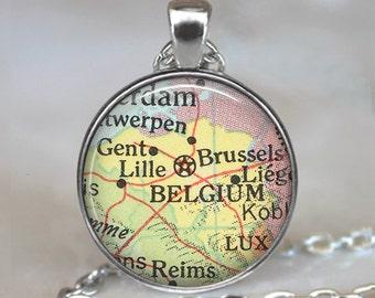 Belgium map pendant, Belgium map necklace, Belgium necklace, Belgium pendant, map jewelry keychain key chain