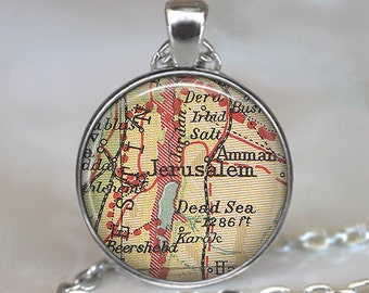 Jerusalem map necklace, Jerusalem necklace, Jerusalem map pendant, Jerusalem pendant, map jewelry map keychain