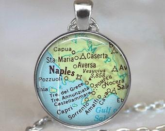 Naples map necklace, Naples map pendant, Naples necklace, Naples pendant,  vintage map jewelry, Naples keychain key chain key fob