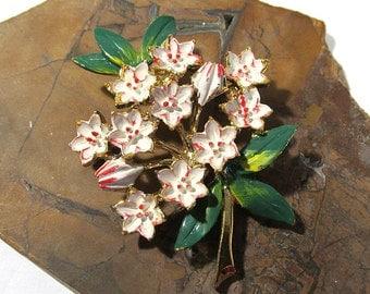 Enamel Flower Brooch VINTAGE Enamel Flower Spray Signed B.J. Pin Brooch Gold Enamel Ready to Wear Vintage Flower Jewelry Destash (F15)