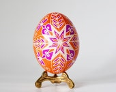 Orange Pysanka Ukrainian Easter egg,hand painted chicken egg shell, Easter decorations, symbol of new life new chapter, 8 point star, egg