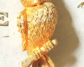 Owl Brooch, Owl Pin, Red Rhinestone,  Vintage Brooch, Vintage Pin, Vintage Jewelry