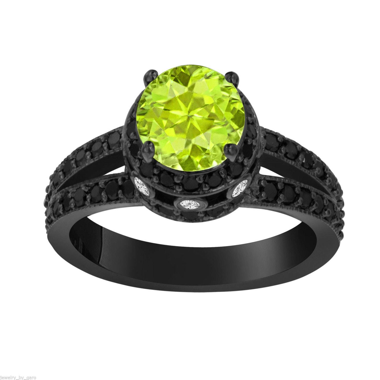 Peridot & Black Diamond Engagement Ring Vintage Style 14K
