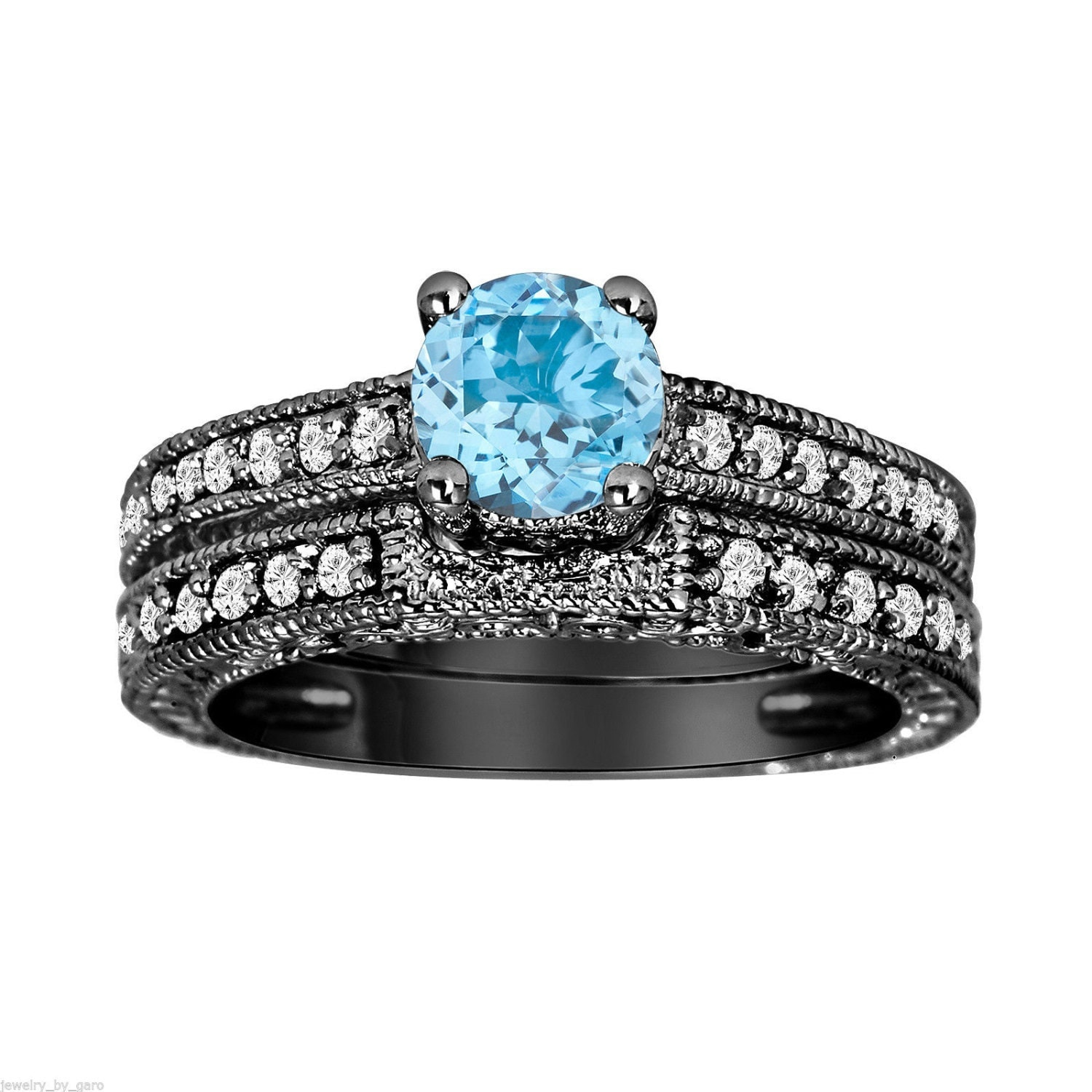 Blue topaz diamond engagement ring and wedding by for Blue topaz wedding ring sets