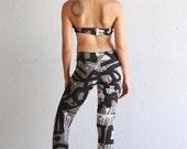 Jasmine Gray Leggings - Printed Leggings - Yoga - Organic Cotton Leggings - Graffiti Print - Leggings