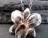 orchid fine silver pendant necklace,botanic jewellery, fine silver jewellery, handmade jewellery uk