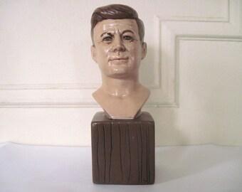 jfk, vintage 1973 John F Kennedy ceramic bust - 1960s, President, political figurine, Jack, democrat, Presidential Library, office, decor