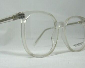 Vintage 80s Oversized Square Horn Rim Eyeglass Frames. Clear