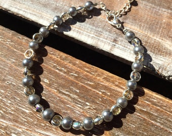 Silver Pearl and Crystal Bracelet