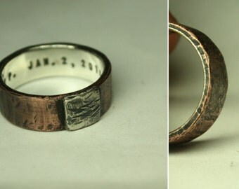 PERSONALIZED mens ring. One-of-a-kind design gift for him. Artisan, rustic, organic, solid silver, copper/brass. Custom text engraving.
