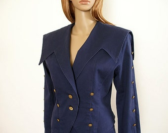 Vintage 80s Military Look Skirt Suit Navy Blue Nautical Suit / Medium U.S. 8