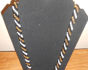 Zebra Bead Crochet Necklace