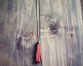 Pink Lemonade Long Bright Orange Antique Brass Tassel Charm Necklace