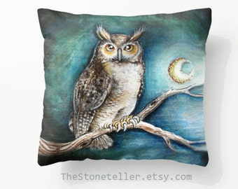 "Throw Pillow Cover with pillow insert.PRINT art. animal art - woodland art - fine art -living room - childrens room - nursery  """" Moon owl"""""