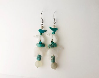 Vintage Turquoise and White Jade Polar Bear Earrings (1980s)