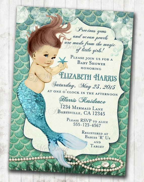 Mermaid Baby Shower Invitation Little Mermaid Ocean Baby Shower Under ...: https://www.etsy.com/listing/228078375/mermaid-baby-shower...